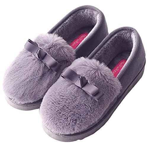 Sixspace コットン スリッパ レディース ルームシューズ 室内履き 靴 冬のコットンスリッパ 防寒 可愛い 女性の靴 滑り止め 暖か 厚底 グレー 25cm