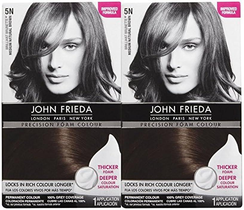 John Frieda 精密泡ヘアカラー、ミディアムナチュラルブラウン5N、2 Pkを 2パック ミディアムナチュラルブラウン(5N)