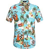 SSLR Men's Christmas Santa Claus Party Casual Tropical Hawaiian Shirt