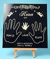 御影石「未来」 本磨き黒御影石にスワロスキーが光る家族全員を手型を彫刻!miniタイルプレゼント。