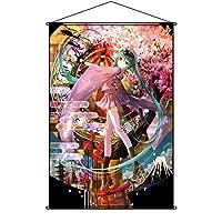 COSFUN タペストリー 初音ミク ポスター 掛ける絵 巻物 軸物 アニメ おしゃれ 萌え (90cmX60cm)