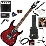 Ibanez エレキギター 初心者 入門 人気GIOシリーズ 美しいキルテッドメイプルトップのRGタイプ ミニアンプが入ったお手軽13点セット GRX70QA/TRB(トランスペアレントレッドバースト)