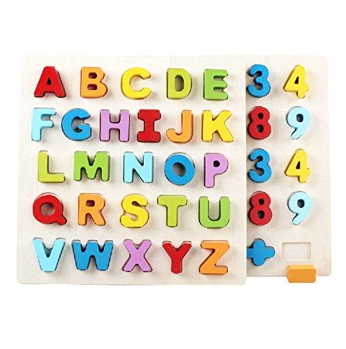 木のおもちゃ 形合わせ はめ込み パズル 英語単語 数字 算数 早期教育 アルファベット ナンバー 2点セット 幼児 知育玩具
