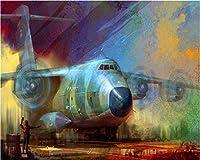 Weaeo カスタム3D壁紙レトロノスタルジックステレオ航空機油絵壁紙ホテルレストラン壁紙ウォッシャブル壁紙-350X250Cm