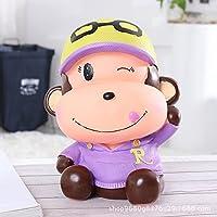 マネー バンク 創造的な漫画のベイビーモンキーピギーバンクビニールいたずらな猿の貯金(紫色)
