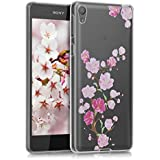 kwmobile TPUシリコンケース 桜の枝デザイン Sony Xperia E5用 ダークピンク薄ピンク透明 - シックな携帯電話用保護ケース