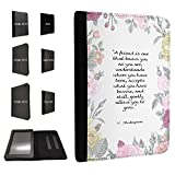 270 - Shabby chic Quote A friend iu as one that knows you as you are Shakespeare Quote For Amazon 2015_08/kindle Fire HD 6'' 2014 レザー手帳型ケース ダイアリト スタンド 財布型