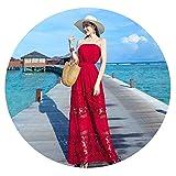 夏の海辺の休暇ビーチスカートセクシーなレースステッチホリデードレス中空チューブトップドレスのビーチスカート,赤,S