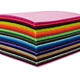 44PCS 4 x 4 inches (10*10cm) Assorted Color Felt Fabric Sheets Patchwork Sewing DIY Craft 1mm Thick by flic-flac