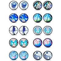 Finrezio 10 Pairs 18G Unisex Stainless Steel Stud Earrings Set for Men Women Ear Piercing Plugs Tunnel