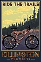 Killington、バーモント州–Ride the Trails–Mountain Bikeシーン 24 x 36 Giclee Print LANT-76873-24x36