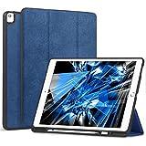 Wonzir iPad Pro 12.9 ケース Apple Pencil 収納可能 スタンド機能 iPad Pro 12.9 インチ (2017と2015モデル通用) 保護カバー 軽量 薄型 シンプル 三つ折タイプ 全面保護型 傷つけ防止 iPad pro 12.9手帳型 ケース PU 便利なペンホルダー付き(モデル番号A1670 A1671 A1584 A1652) (ipad 12.9, ブルー)