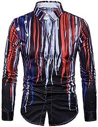 Keaac メンズヒップスター3 Dプリントロングスリーブパーティースリムフィットボタンダウンシャツ