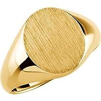 14Kイエローゴールドメンズ用ソリッドオーバルSignetリングW、サイズ: 10