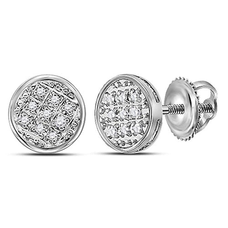 慈悲ヘアチャンス10kt ホワイトゴールド メンズ ラウンドダイヤモンド サークル クラスター スタッドピアス 1/20 Cttw