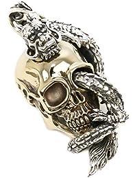 ジナブリング (JINA BRING) ハード ペンダント シルバー925 ブラス 眼からドラゴン 金色の髑髏に巻き付く 龍 骸骨 ドクロ ペンダント メンズ レディース