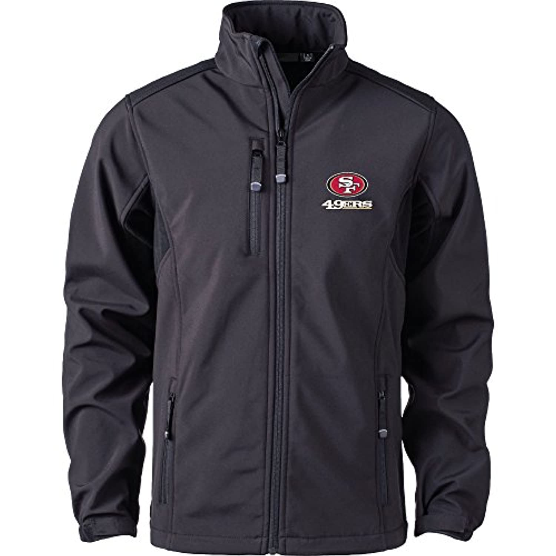 NFL San Francisco 49ersメンズソフトシェルジャケット、Large、ブラック