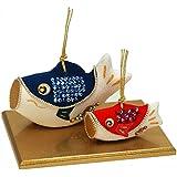 ちりめん 室内 鯉のぼり (土鈴)輝鯉のぼり親子 ポストカード特典付オリジナル五月人形 こいのぼり 幅14cm リュウコドウ