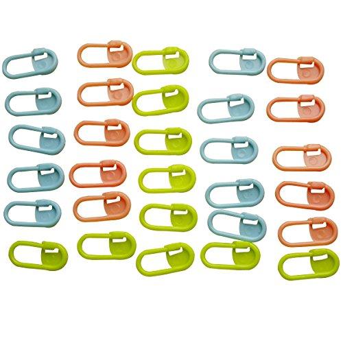ノーブランド品 段数えマーカー ペーパークリップ プラスチック 22*11mm 30個入り 編物道具 多色
