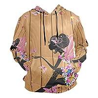 デイジーフラワーブラックウーマンパーカー スウェットシャツ 男の子 女の子 用 巾着 プルオーバー 長袖 フード付き