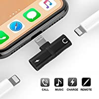 iPhone 7 8Pアダプター&スプリッター、Auswaurデュアルライトニングヘッドフォンジャックオーディオ&充電アダプターアクセサリーApple iPhone 7 / 7Plus / 8/8 Plus / iPhone X、互換性のある音楽制御と充電機能(ブラック)