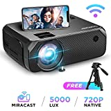 BOMAKER LCD WiFi Projector, Upgraded 4500 Lux, Portable HDMI Projector, Full HD 1080P Supported, Wireless Screen Mirroring Via Miracast and Airplay, 300'' Display for Android/iOS/Laptops/PCs/Windows 10