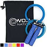 WOD Nation Attack Speed Jump Rope by - Adjustable Jumping Ropes - Unique 2 Cable Skipping Workout System - 1 Heavy and 1 Light 11' Cable - Perfect for Double Unders - Fits Men and Women