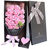 ソープフラワー LangRay 枯れない花 造花 花束 バラ 贈り物 母の日 誕生日 記念日 お見舞い プレゼント ギフトボックス(ピンク)
