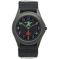 [アンペルマン]AMPELMANN キッズ 腕時計 日本製ムーブメント ラウンドフェイス カラフルインデックス 反射板(リフレクター) 付 ブラック × ブラック AMA-2034-05 ガールズ 【正規輸入品】