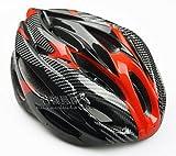 【ノーブランド品】クールスタイル! 超軽量 高剛性! 自転車用 サイクリング ヘルメット (カーボン/レッド&ブラック)
