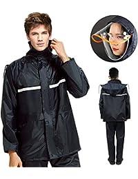 レインウェア EocuSun レインコート 雨具 レインスーツ 着脱式合羽 二重構造帽子 自転車 バイク 釣り 通勤 通学に対応 男女兼用 収納袋付き