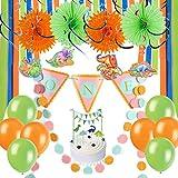 恐竜 1歳誕生日飾り付け 男の子 SUNBEAUTY 渦巻きスワール ペーパーファン ハンギング デコレーション インテリア 写真背景 子供の誕生日飾り