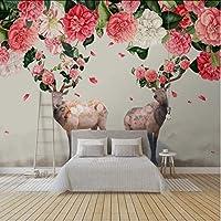 Wuyyii カスタム3D壁画森鹿鹿飛ぶ花びらテレビの背景壁絵画新しいデザインの壁紙3Dフラワー壁紙-350X250Cm