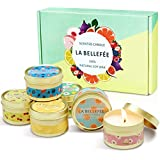 LA BELLEFÉE Scented Candle 100% Soy Wax Gift Set Travel Tin Candles ... Berry, Peach, Cherry, Grapefruit, Tarocco Blood Orange, Mediterranean