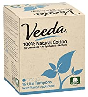 Veeda, 100% Hypoallergenic, Natural Cotton, Chemical Free, Unscented, Lite Tampons with Applicator, 16 count by Veeda