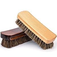 Himart 靴ブラシ 馬毛 2枚 靴磨き ブラシ100% 天然馬毛ブラシ ブーツ 靴 その他のレザーケア用(ダックブラウン+ブラウン)