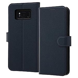レイ・アウト Galaxy S8+ ケース 手帳型 シンプル マグネット/ダークネイビー RT-GS8PELC1/DN