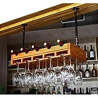 ソリッドウッドワインラックワイングラスラックハンギングバーワインラックデコレーションバーゴブレットラックワイングラスホルダー