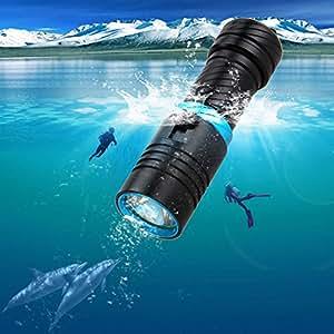 SUNSPOT  水中ライト ダイビング ライトCREE XM-L2 LED ハンディライト  懐中電灯 18650充電セット付き