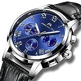 [メガリス]MEGALITH腕時計 メンズ時計レザー防水 クロノグラフ腕時計 多針アナログクオーツウオッチ ルミナス夜光 日付表示 ラグジュアリー おしゃれ ビジネス カジュアル メタル男性腕時計 ブルー