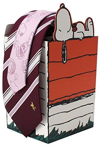 [DRESSCODE101(ドレスコード101)]キャラクターネクタイ スヌーピー ネクタイ セット (可愛い ギフトボックス) 別注 オリジナル 8cm クリスマス プレゼント ブランド JUN-SNOOPY- メンズ ワイン×ストライプ(ウッドストック) 日本 FREE (FREE サイズ)