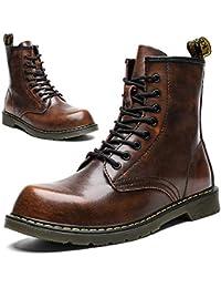 [Maxome] ブーツ メンズ レディース カジュアルシューズ エンジニアブーツ 編み上げブーツ ワークブーツ 安全靴 ブーツ 本革 アウトドア 防水 防滑 本皮 黒 茶色 23.0cm-28.5cm