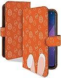 Xperia XZ1 SO-01K ケース 手帳型 うさぎ オレンジ イースター アニマル スマホケース エクスペリア 手帳 カバー XperiaXZ1 so01k so01kケース so01kカバー ラビット 卵 うさみみ [うさぎ オレンジ/t0620b]