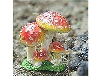 FenBuGu-JP ミニキノコホームガーデンマイクロ景観装飾植物ポット盆栽クラフト装飾品(赤+黄)