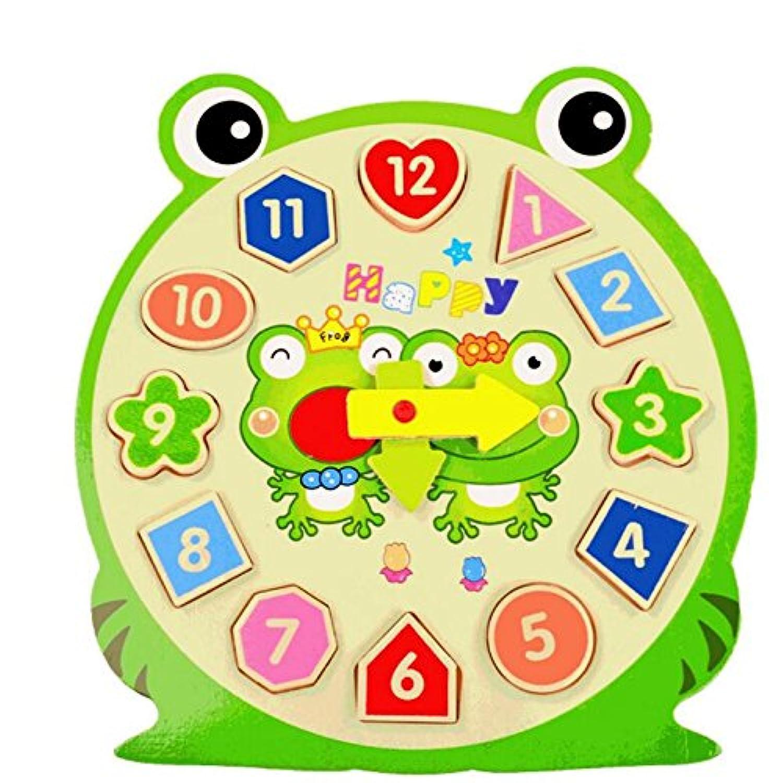 HuaQingPiJu-JP 素敵な教育木製時計玩具アーリーラーニングタイムナンバーシェイプ子供のための色の動物の認知玩具(カエル)