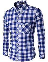 maweisong メンズロングスリーブボタンダウンシャツ襟カジュアル