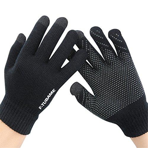 F-TUBAME スマホ 手袋 メンズ&レディース 裏起毛 自転車防寒用 静電気防止 滑り止め付き フリーサイズ ブラック&ブラウン