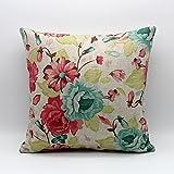 ヴィンテージグリーンピンク花花柄クッションケース装飾クッションカバー45* 45cm