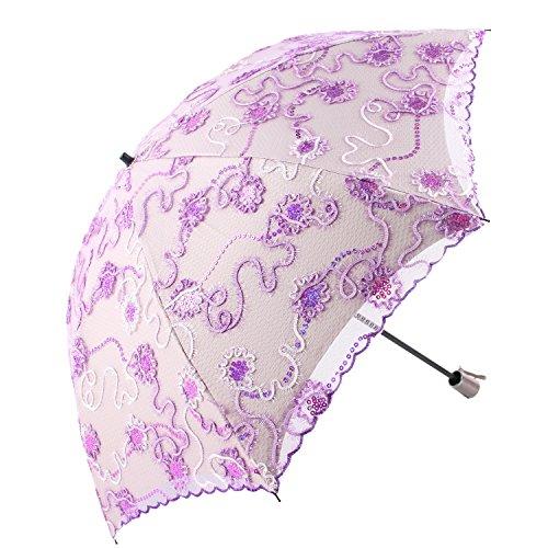 Honeystore日傘折りたたみレース日傘刺繍フリル二重張りUVカットパープル