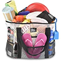 Heavy Duty Mesh Bag - Beach Bag, Toy Tote Bag -Lightweight Extra Large Market, Grocery & Picnic Tote with Oversized Pockets